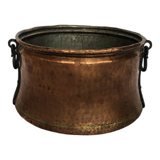 Antique Vintage Hammered Copper/Bronze Cauldron With Cast Iron Handles For Sale