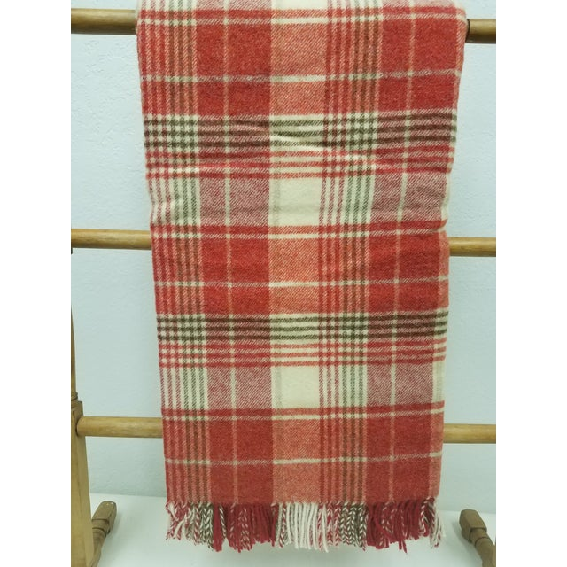 Red Wool Throw Reds Black White Plaid - Made in England For Sale - Image 8 of 8