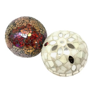 Modern Glass Sharded Round Spheres - a Pair For Sale