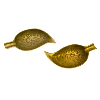 Indian Leaf-Shaped Brass Dishes - Pair For Sale