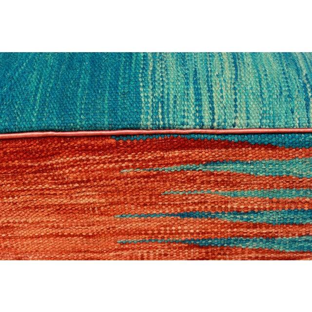 Arshs Dominica Blue/Rust Kilim Upholstered Handmade Ottoman For Sale In New York - Image 6 of 8