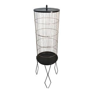 1960s Mid Century Modern Prevue Hendryx Cylinder Bird Cage Stand For Sale