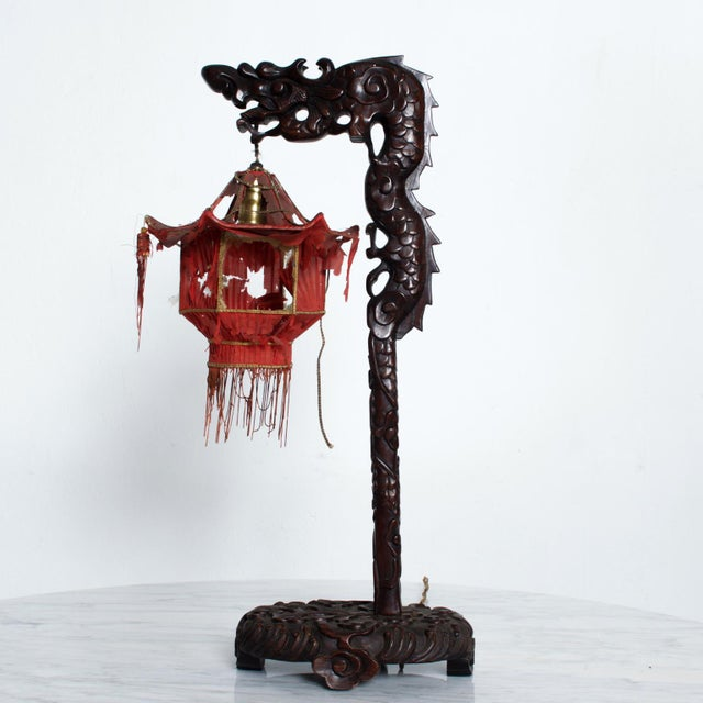Wood 1920s Antique Chinese Rosewood Dragon Table Lamp Pagoda For Sale - Image 7 of 9