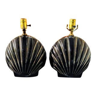 A Pair Art Deco Black and Gold Striped Sea Shell Ceramic Table Lamps For Sale