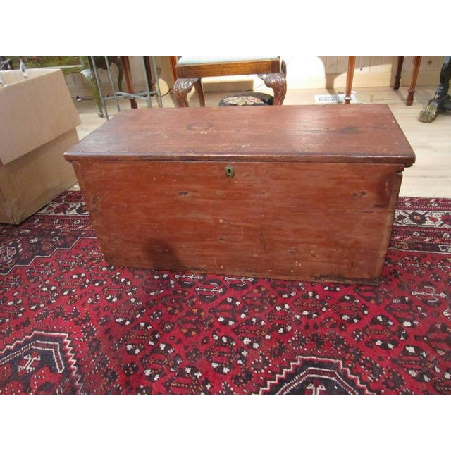 Handsome 19th Century American Painted Trunk With Lovely Worn Painted Finish For Sale - Image 4 of 6