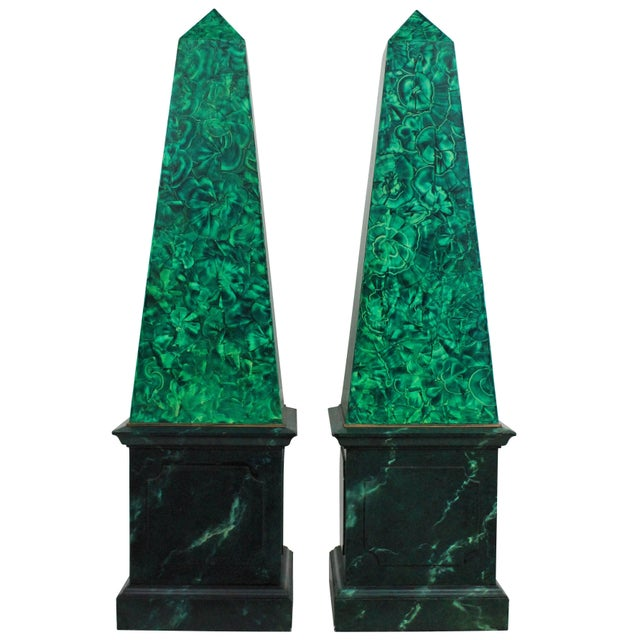 Pair of Large Faux Malachite Obelisks For Sale - Image 4 of 4
