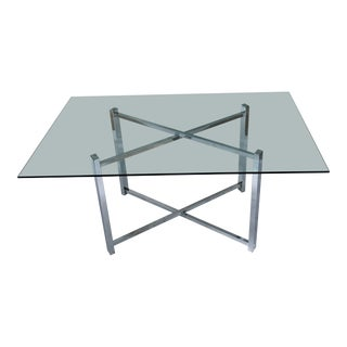 Milo Baughman Style Chrome and Glass Dining Table For Sale