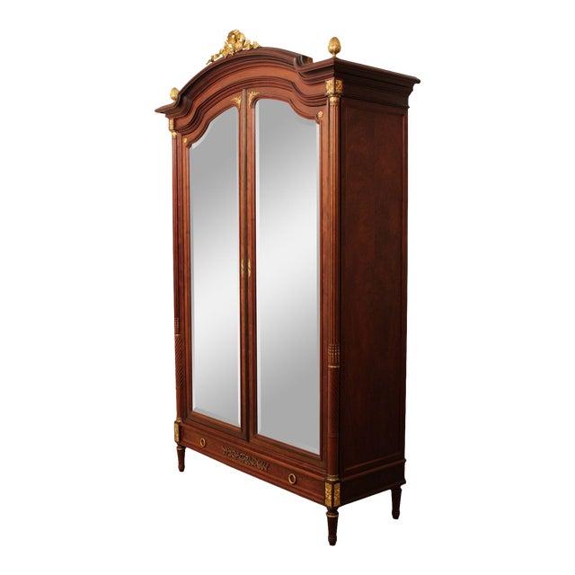 French Louis XV Antique Mahogany Mirror Door Armoire, Bronze For Sale