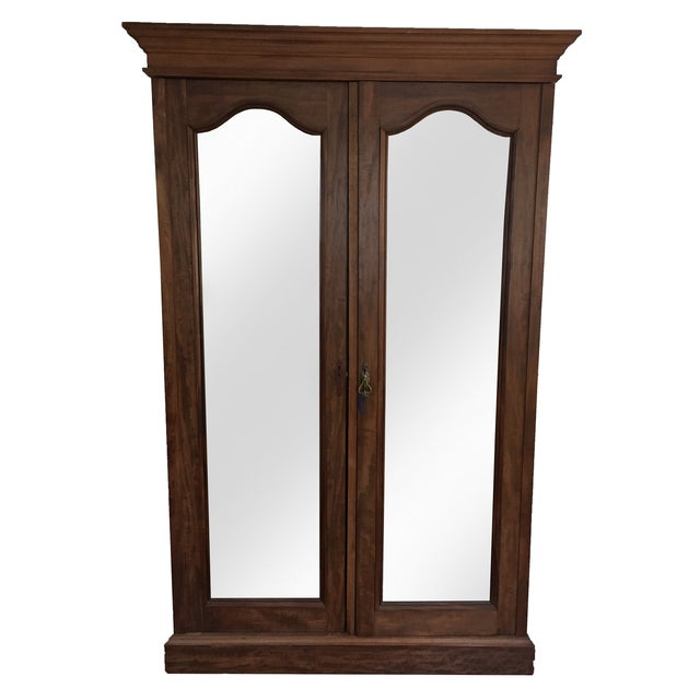 Solid Wood Armoire With Antiques Mirrors - Image 2 of 5