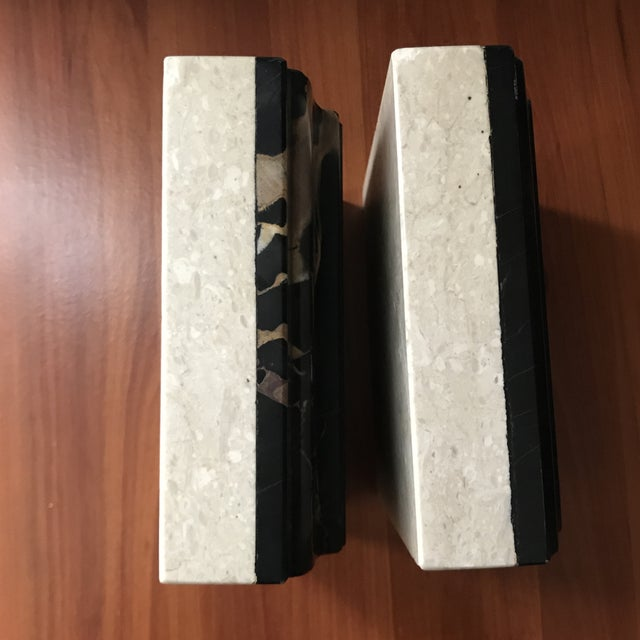 Vintage Heather Quartz & Black Taupe White Marble Bookends - a Pair For Sale In Saint Louis - Image 6 of 9