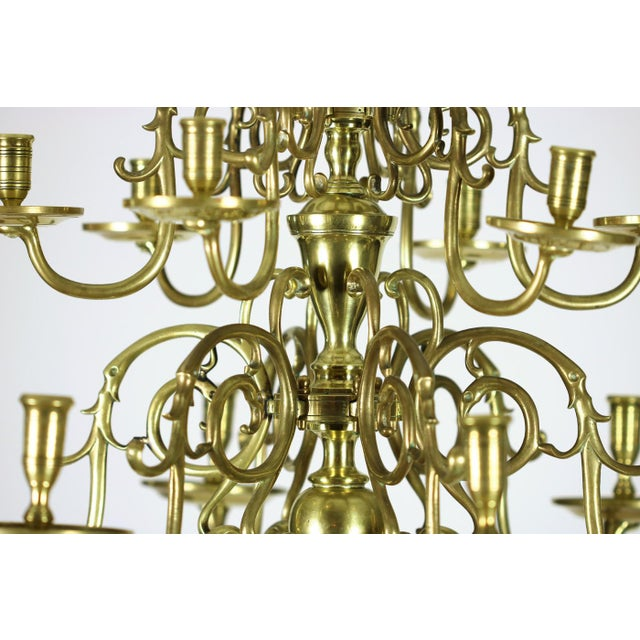 Gold A Dutch Brass triple tier, 18 light Chandelier, circa 1860 For Sale - Image 8 of 8