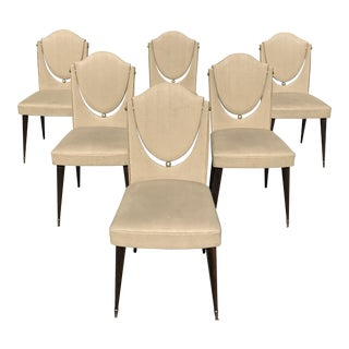 1940s Vintage French Art Modern Solid Mahogany Dining Chairs - Set of 6 For Sale