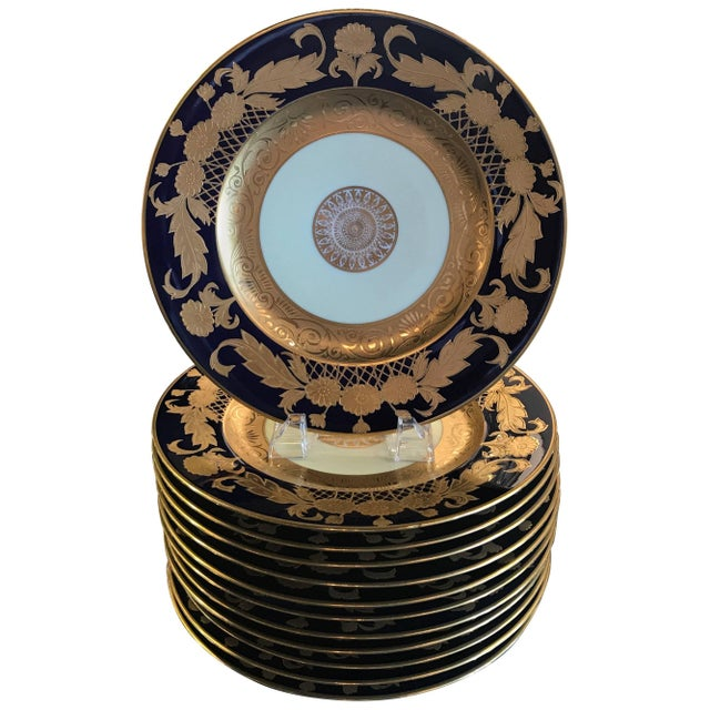 20th Century Edwardian Cobalt and Gilt Service Dinner Plates - Set of 12 For Sale - Image 10 of 10