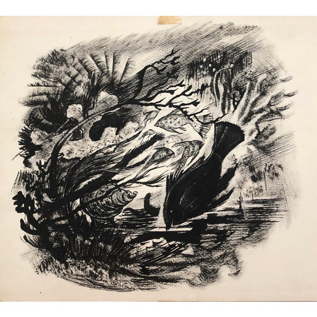 1940s Under the Sea en Grisaille Ink Wash by William Palmer, C. 1940s For Sale - Image 5 of 5