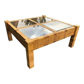 Vintage Billy Baldwin Style Wrapped Rattan Coffee Table For Sale