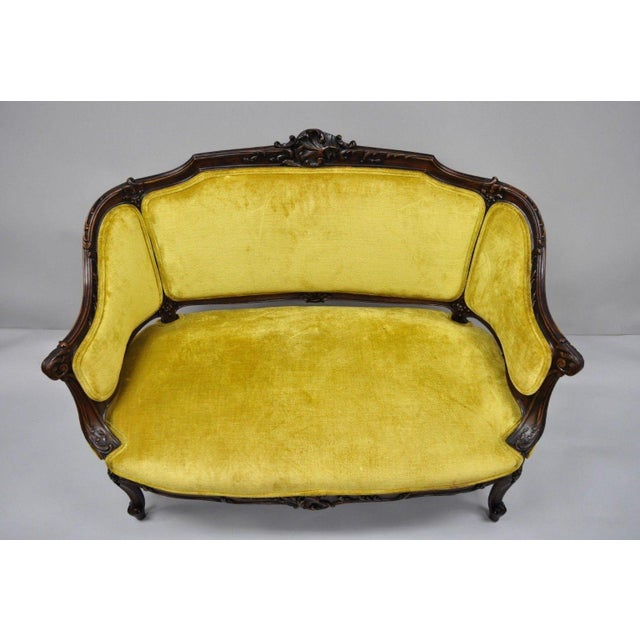 Mahogany Antique French Louis XV Style Finely Carved Mahogany Settee Loveseat For Sale - Image 7 of 11