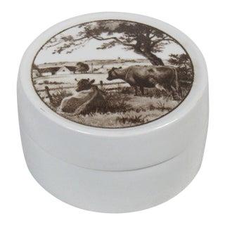 Royal Copenhagen Fajance Lidded Jar With Cows For Sale