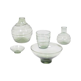 Set of 5 Ribbon-Trailed Glass Vases and Bowls by Barnaby Powell for Whitefriars For Sale