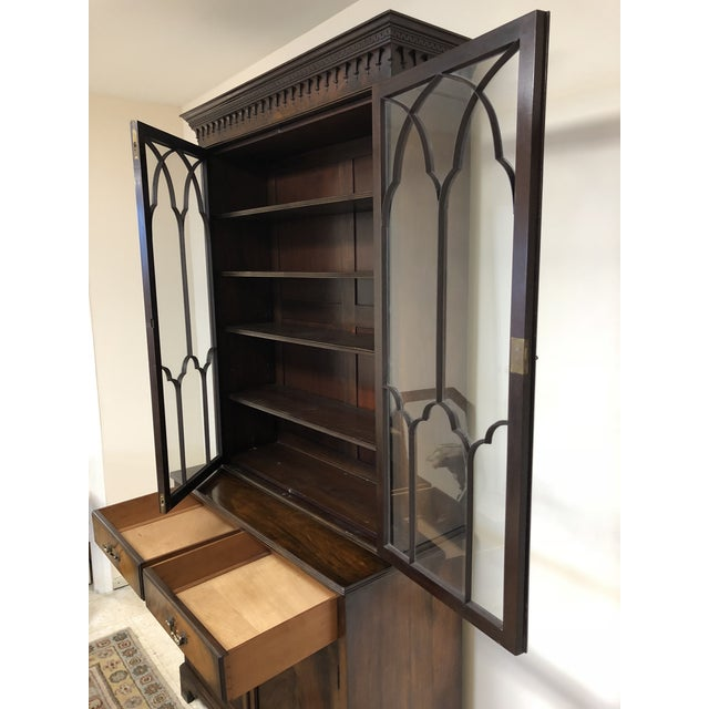 Georgian Stepback Chippendale Bookcase Cabinet For Sale - Image 10 of 12