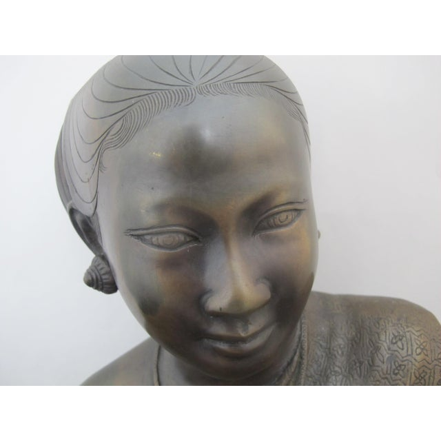 Early 20th Century 20th Century Figurative Bronze Sculpture of Burmese Thai Woman Female Bust For Sale - Image 5 of 9