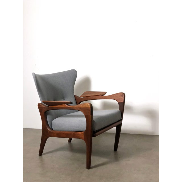 Gray 1960s Pair Adrian Pearsall for Craft Associates Wingback Lounge Chairs For Sale - Image 8 of 10