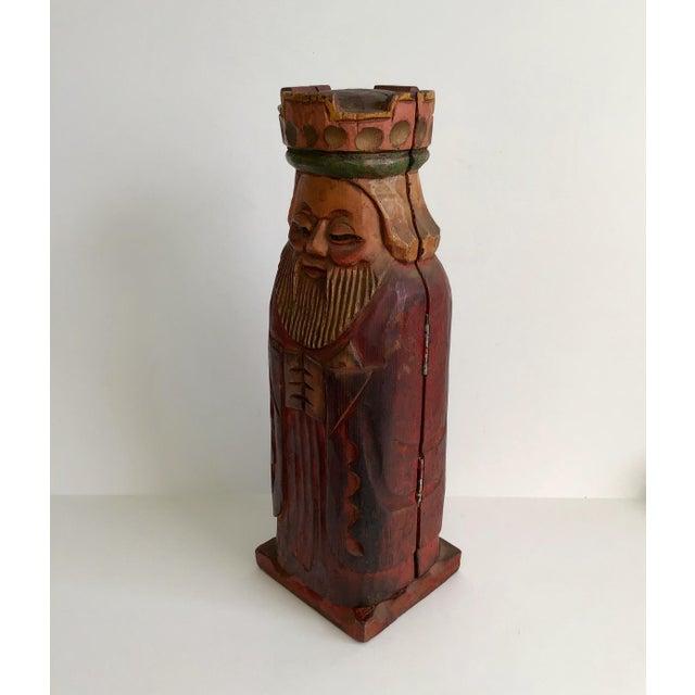 Vintage Carved Wood King Wine Bottle Holder Barware Speak Easy. Great little piece to hide a bottle.