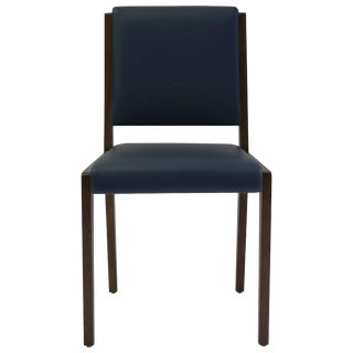 Dining Sidechair in Blue Leather With Mahogany Wood Frame For Sale
