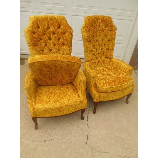 Hollywood Regency High Back Tufted Chairs - A Pair - Image 5 of 8