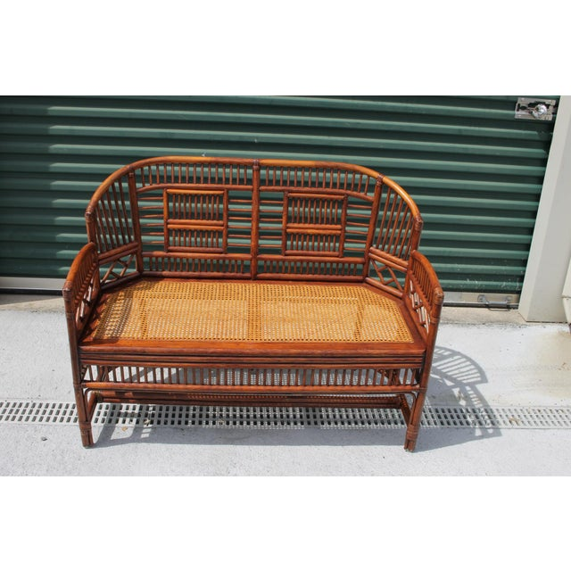 Vintage Mid Century Bamboo Rattan Pavilion Brighton Chinoiserie Chippendale Caned Settee For Sale - Image 9 of 10