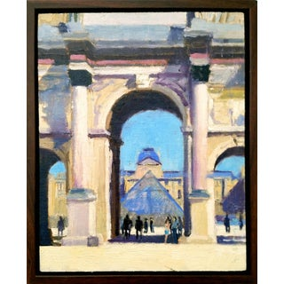 """1980s """"The Louvre, Paris"""" Impressionist Style Architectural Oil Painting, Framed For Sale"""