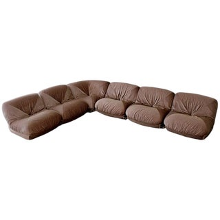 1970s Mid-Century Modern Airborne Patate Velvet Six-Piece Sectional Sofa, French For Sale
