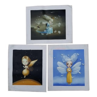 Surrealist Children's Paintings - Set of 3 For Sale