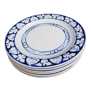Blue and White Rabbit Hand Painted Extra Large Dinner Plates - Set of 6 For Sale