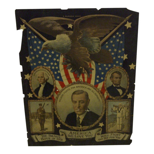 Vintage WWI Presidential Campaign Poster For Sale