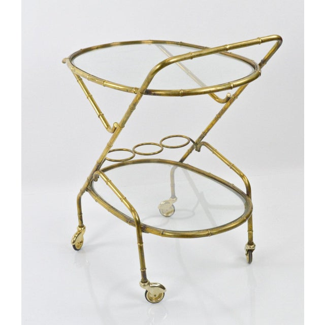 Vintage French Brass Bamboo Style Bar Cart - Image 4 of 6