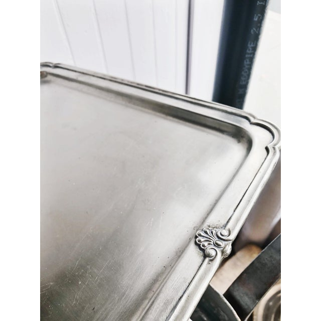 Reed & Barton Antique Silver Plated Serving Tray From New York Central & Hudson River Railroad For Sale - Image 4 of 6