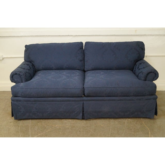Blue Damask Traditional Upholstered Councill Sofa - Image 7 of 10