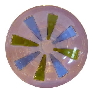 1960s Scandinavian Modern Michael & Frances Higgins Mid Century Modern Fused Glass Bowl For Sale