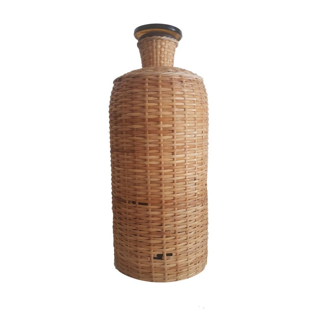 Ballard Designs 1960s Italian Ballard Cane and Jute Wrapped Demijohn Wine Cooler Decanter - Set of 3 For Sale - Image 4 of 13