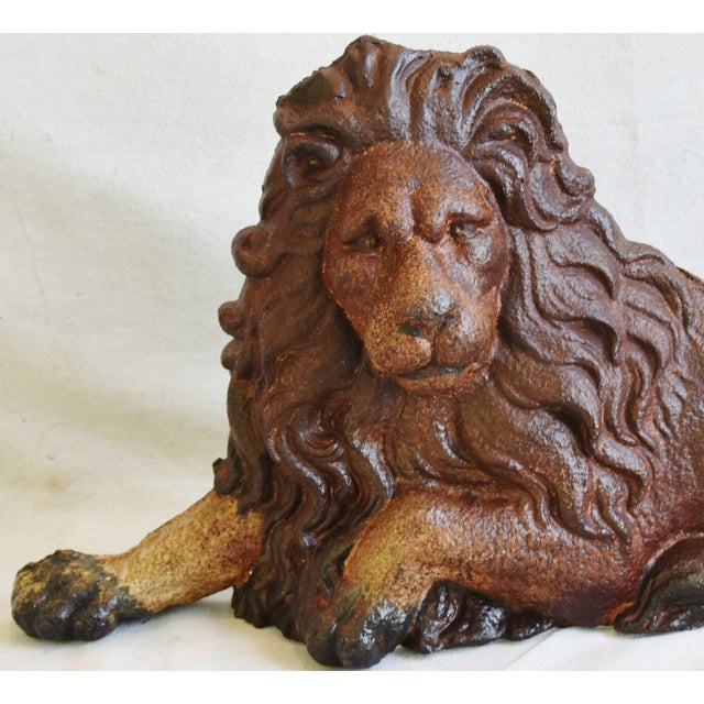 Brown Large Antique French Cast Metal Lion Figure For Sale - Image 8 of 10