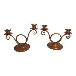 Vintage Gregorian Copper Double Candle Holders - a Pair For Sale