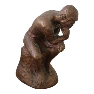 Bronze Painted Plaster Thinker Sculpture For Sale