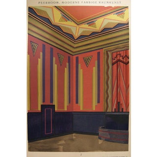 Art Deco Navy & Pink Pochoir Print, 1929 For Sale