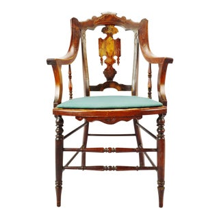 Antique Victorian Eastlake Carved Wood Arm Chair For Sale