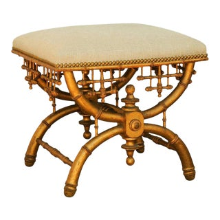 Brighton Pavilion Style Chinoiserie Stool with Gilt Faux-Bamboo X-Frame Base