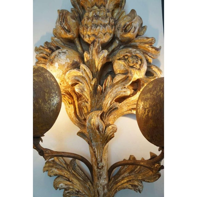 Italian Hand Carved Gilt Wood Sconces - a Pair For Sale - Image 9 of 10