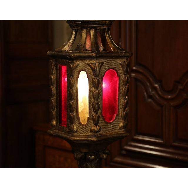 18th Century Italian Carved Giltwood Three-Light Lantern With Stained Glass For Sale In Dallas - Image 6 of 13