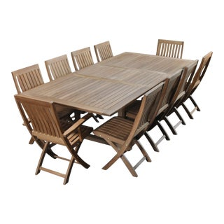 Traditional Teak Dining Set - 11 Pieces For Sale