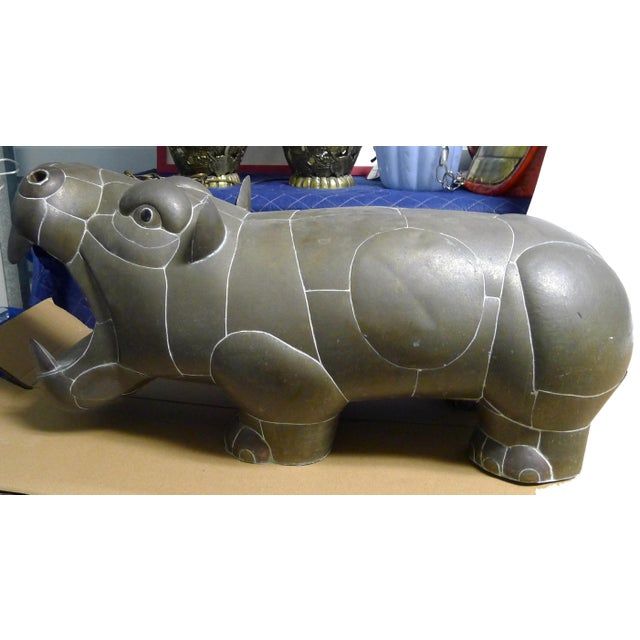 1970s Sergio Bustamante Patchwork Metal Hippo For Sale In New York - Image 6 of 7