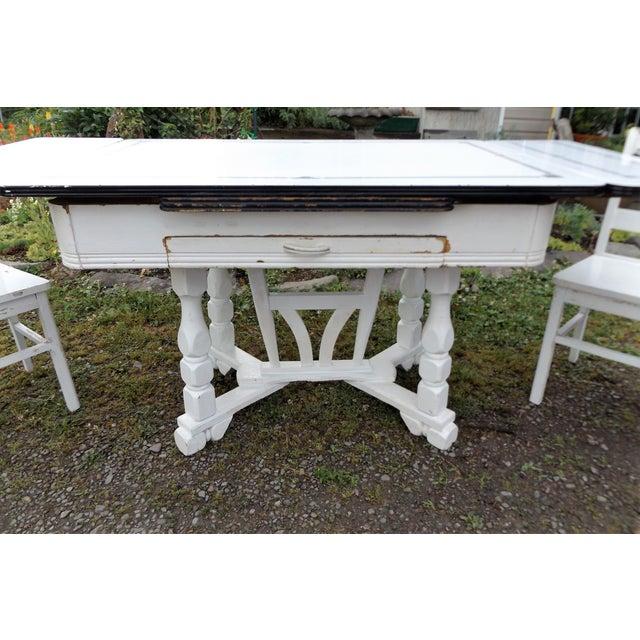 White Porcelain Expandable Farmhouse Table Set - Image 7 of 11